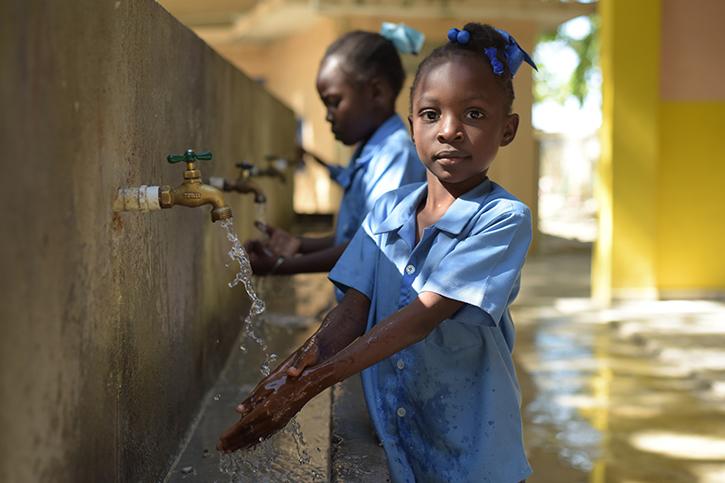 Handwaschstelle in Haiti