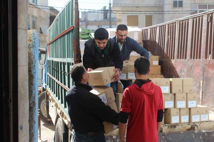 Ankunft einer Hilfslieferung in Syrien