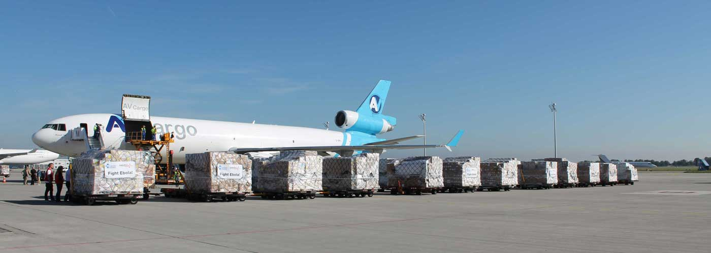 An emergency supply for the victims of the Ebola epedemic on its way to Sierra Leone.