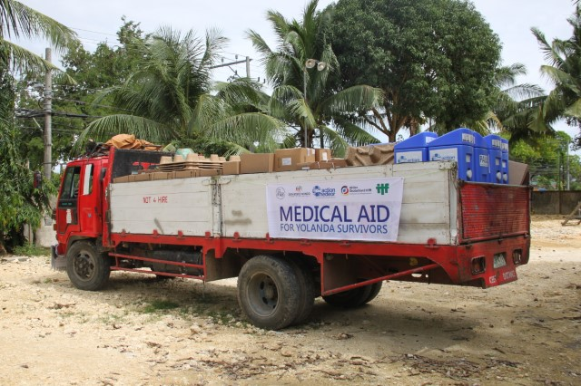 A truck transports medical supplies from action medeor and partner organizations after Typhoon Hayian in the philippines.