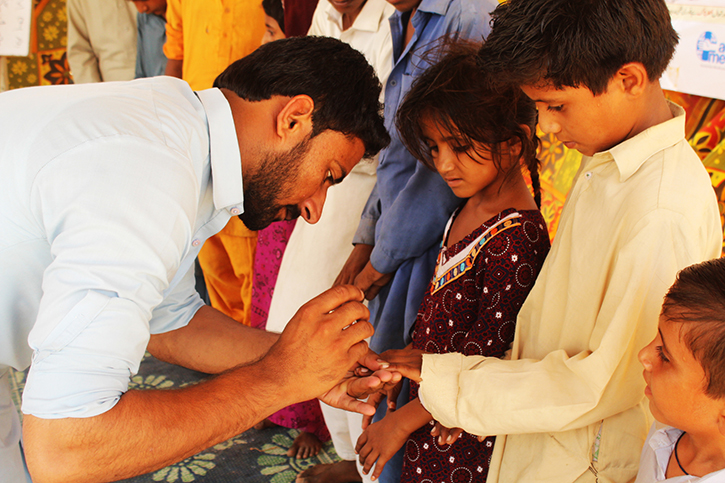 Pakistan schoolchildren recieve an education on hygiene to prevent the spread of diseases such as hepatitis C.