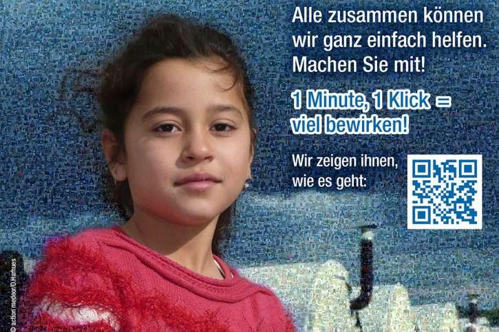 """Mosaikpostkarte """"Notfallpakete für Menschen"""""""